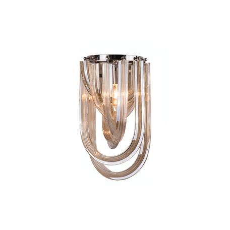 Бра Newport 64001/A cognac, 1xE14x60W, хром, коньячный, металл, стекло
