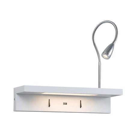 Настенный светодиодный светильник с регулировкой направления света с дополнительной подсветкой Newport 14901/R, LED 12W, белый, хром, металл