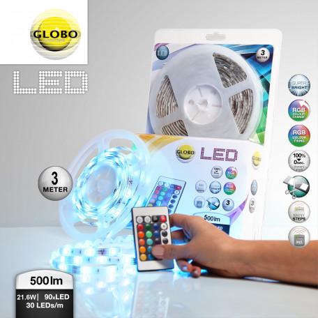 Светодиодная лента в комплекте с питанием с пультом ДУ Globo Led Band 38991, IP44 RGB, пластик