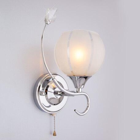 Бра Eurosvet Libre 3457/1 хром/белый, 1xE27x60W, хром, белый, металл со стеклом/хрусталем, стекло