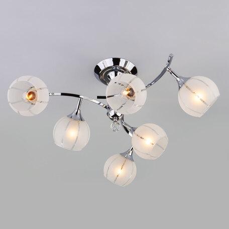 Потолочная люстра Eurosvet Libre 3353/6 хром/белый, 6xE27x60W, хром, белый, металл со стеклом/хрусталем, стекло