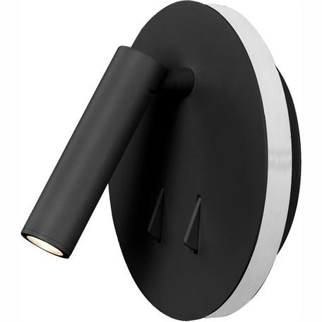 Настенный светодиодный светильник с регулировкой направления света Mantra Cayman 6083, LED 9W 3000K 620lm, черный, металл, металл со стеклом/пластиком