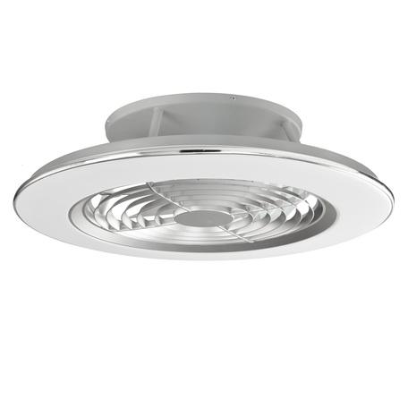 Потолочная светодиодная люстра-вентилятор с пультом ДУ Mantra Alisio 6706, LED 70W 4200lm, серебро, белый, металл, металл со стеклом/пластиком