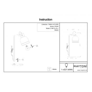Схема с размерами Maytoni Z148-TL-01-L