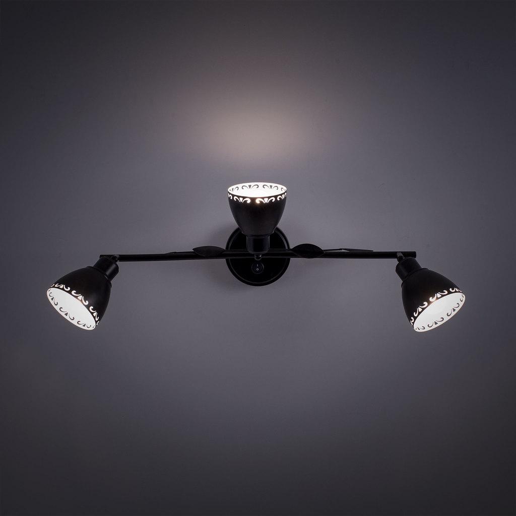 Настенный светильник с регулировкой направления света Citilux Робуста CL509532, 3xE14x60W, коричневый с золотой патиной, металл - фото 5