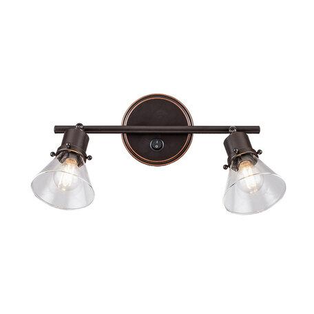 Настенный светильник с регулировкой направления света Citilux Бисмарк CL564521, 2xE14x60W, венге, прозрачный, металл, стекло