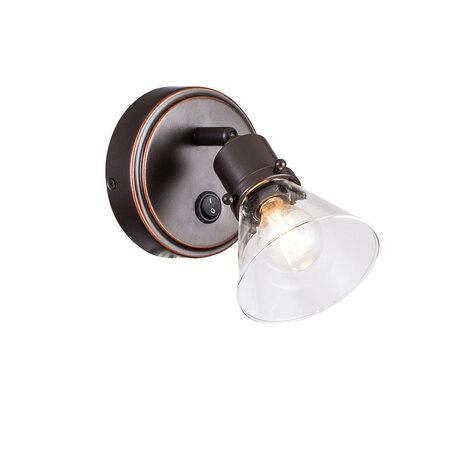 Настенный светильник с регулировкой направления света Citilux Бисмарк CL564511, 1xE14x60W, венге, прозрачный, металл, стекло