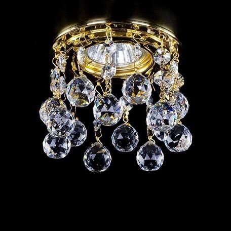 Встраиваемый светильник Artglass SPOT 20 CE SALE, 1xGU10x35W, золото, прозрачный с золотом, прозрачный, металл, хрусталь Artglass Crystal Exclusive