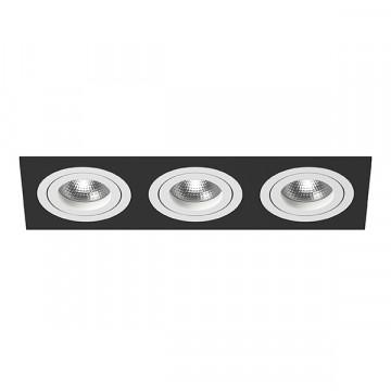 Встраиваемый светильник Lightstar Intero 16 i537060606, 3xGU10x50W, черный, черно-белый, металл
