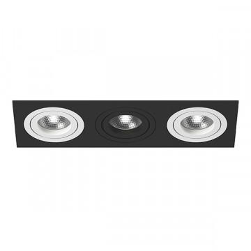Встраиваемый светильник Lightstar Intero 16 i537600706, 3xGU10x50W, черный, черно-белый, металл