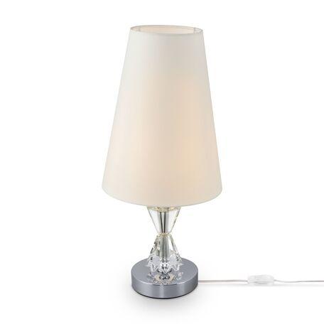 Настольная лампа Maytoni Florero MOD078TL-01CH, 1xE27x40W, хром, прозрачный, белый, стекло, текстиль