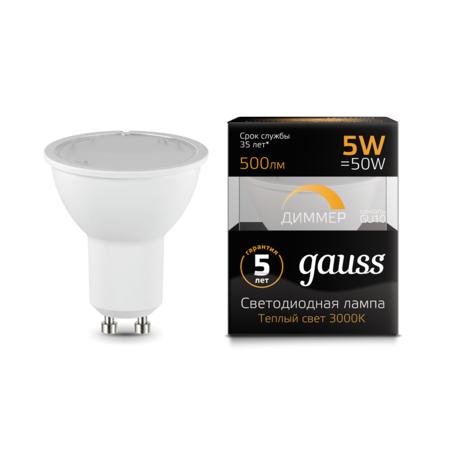Светодиодная лампа Gauss 101506105-D MR16 GU10 5W, 3000K (теплый) CRI>90 150-265V, диммируемая, гарантия 5 лет