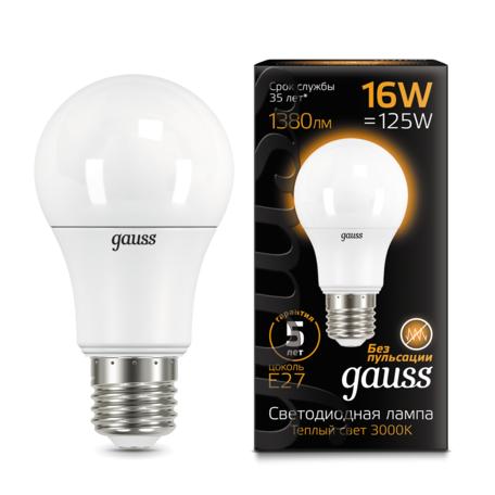 Светодиодная лампа Gauss 102502116 груша E27 16W, 3000K (теплый) CRI>90 150-265V, гарантия 5 лет