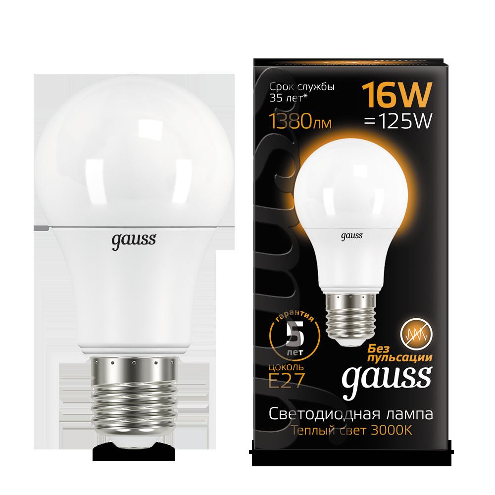 Светодиодная лампа Gauss 102502116 груша E27 16W, 3000K (теплый) CRI>90 150-265V, гарантия 5 лет - фото 1