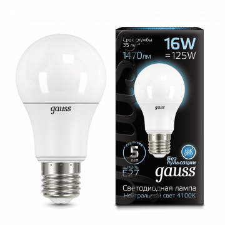 Светодиодная лампа Gauss 102502216 груша E27 16W, 4100K (холодный) CRI>90 150-265V, гарантия 5 лет