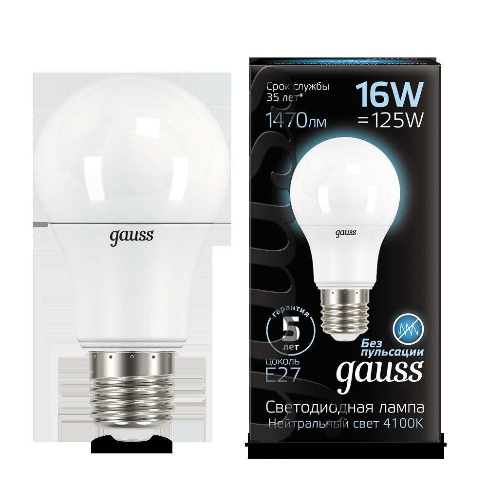 Светодиодная лампа Gauss 102502216 груша E27 16W, 4100K (холодный) CRI>90 150-265V, гарантия 5 лет - фото 1