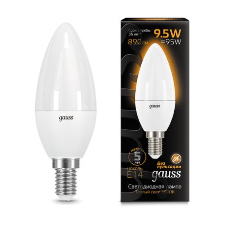 Светодиодная лампа Gauss 103101110 свеча E14 9,5W, 3000K (теплый) CRI>90 150-265V, гарантия 5 лет