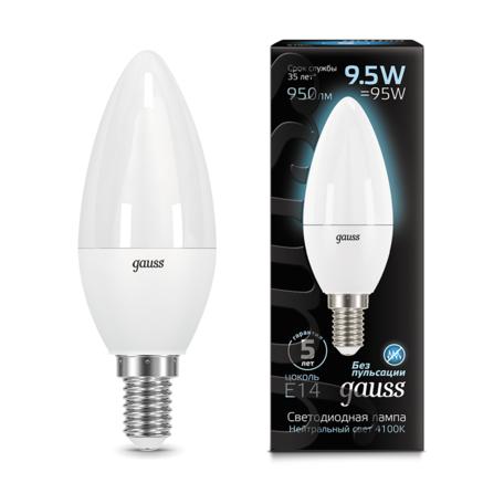 Светодиодная лампа Gauss 103101210 свеча E14 9,5W, 4100K (холодный) CRI>90 150-265V, гарантия 5 лет