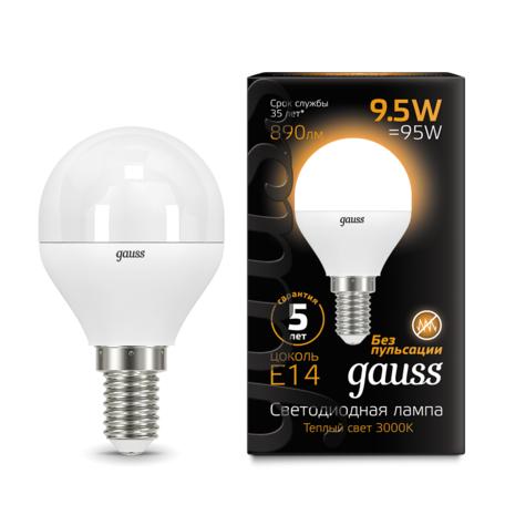 Светодиодная лампа Gauss 105101110 шар E14 9,5W, 3000K (теплый) CRI>90 150-265V, гарантия 5 лет