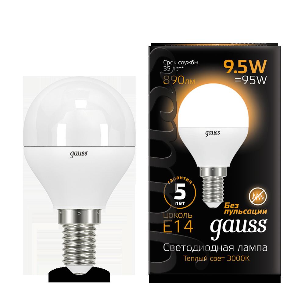 Светодиодная лампа Gauss 105101110 шар E14 9,5W, 3000K (теплый) CRI>90 150-265V, гарантия 5 лет - фото 1