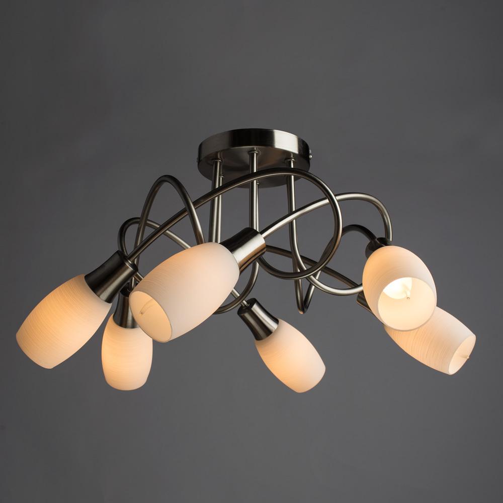 Потолочная люстра Arte Lamp Volare A4591PL-6SS, 6xE14x40W, серебро, белый, металл, стекло - фото 2