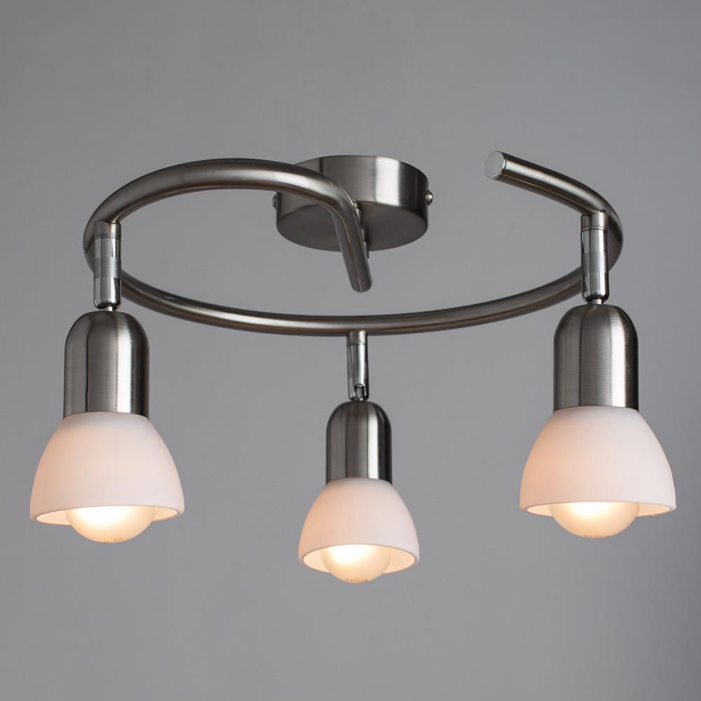 Потолочная люстра с регулировкой направления света Arte Lamp Falena A3115PL-3SS, 3xE14x40W, серебро, белый, металл, стекло - фото 2