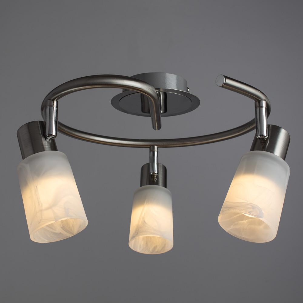 Потолочная люстра с регулировкой направления света Arte Lamp Cavalletta A4510PL-3SS, 3xE14x40W, хром, белый, металл, стекло - фото 2