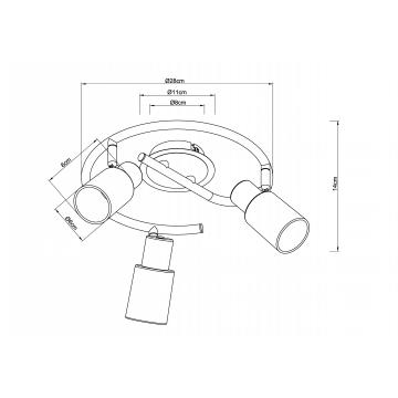 Схема с размерами Arte Lamp A4510PL-3SS