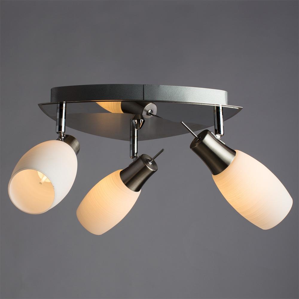 Потолочная люстра с регулировкой направления света Arte Lamp Volare A4590PL-3SS, 3xE14x40W, хром, белый, металл, стекло - фото 2