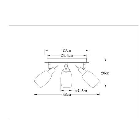 Схема с размерами Arte Lamp A4590PL-3SS