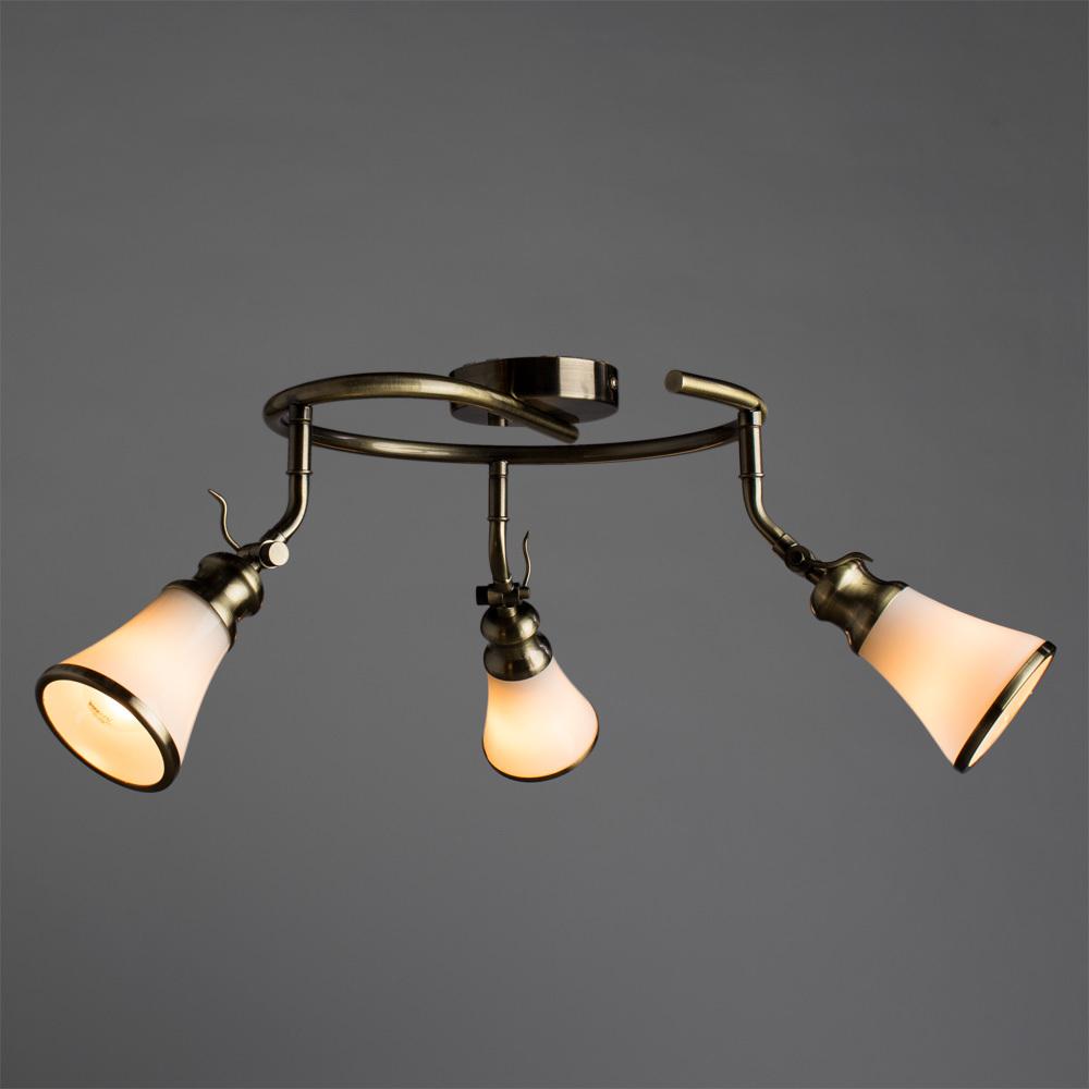 Потолочная люстра с регулировкой направления света Arte Lamp Vento A9231PL-3AB, 3xE14x40W, бронза, белый, металл, стекло - фото 2