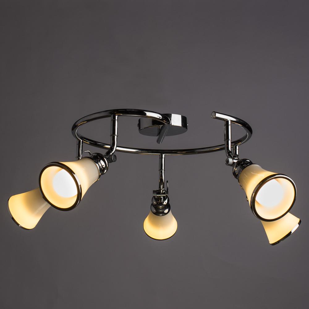Потолочная люстра с регулировкой направления света Arte Lamp Vento A9231PL-5CC, 5xE14x40W, хром, металл, стекло - фото 2