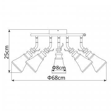 Схема с размерами Arte Lamp A9231PL-5CC