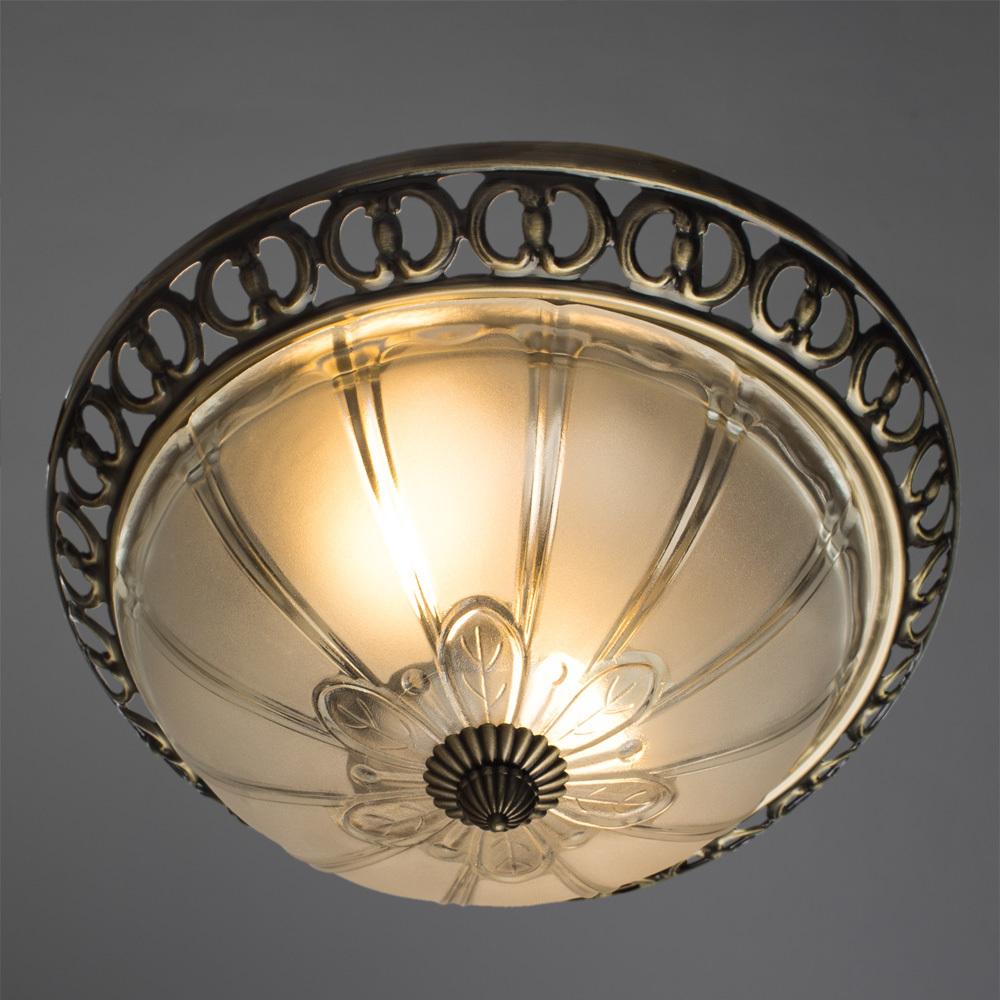 Потолочный светильник Arte Lamp Porch A1306PL-2AB, 2xE27x60W, бронза, белый, металл, стекло - фото 2
