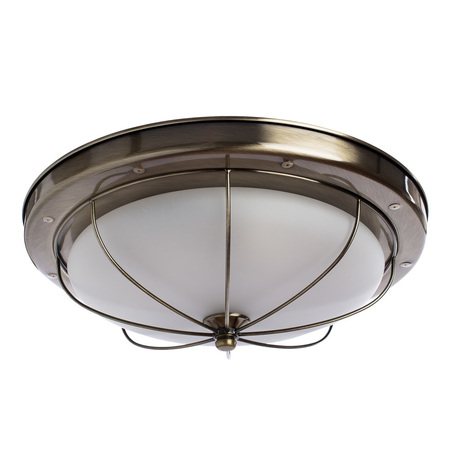 Потолочный светильник Arte Lamp Porch A1308PL-3AB, 3xE27x60W, бронза, белый, металл, стекло - миниатюра 1