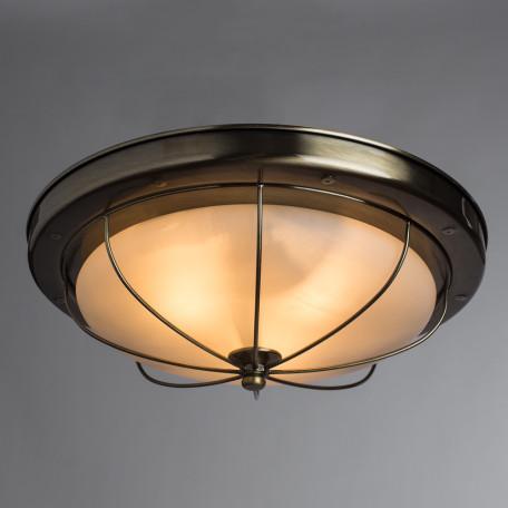 Потолочный светильник Arte Lamp Porch A1308PL-3AB, 3xE27x60W, бронза, белый, металл, стекло - миниатюра 2