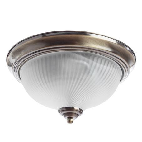 Потолочный светильник Arte Lamp Aqua A9370PL-2AB, IP44, 2xE14x60W, бронза, белый, металл, стекло