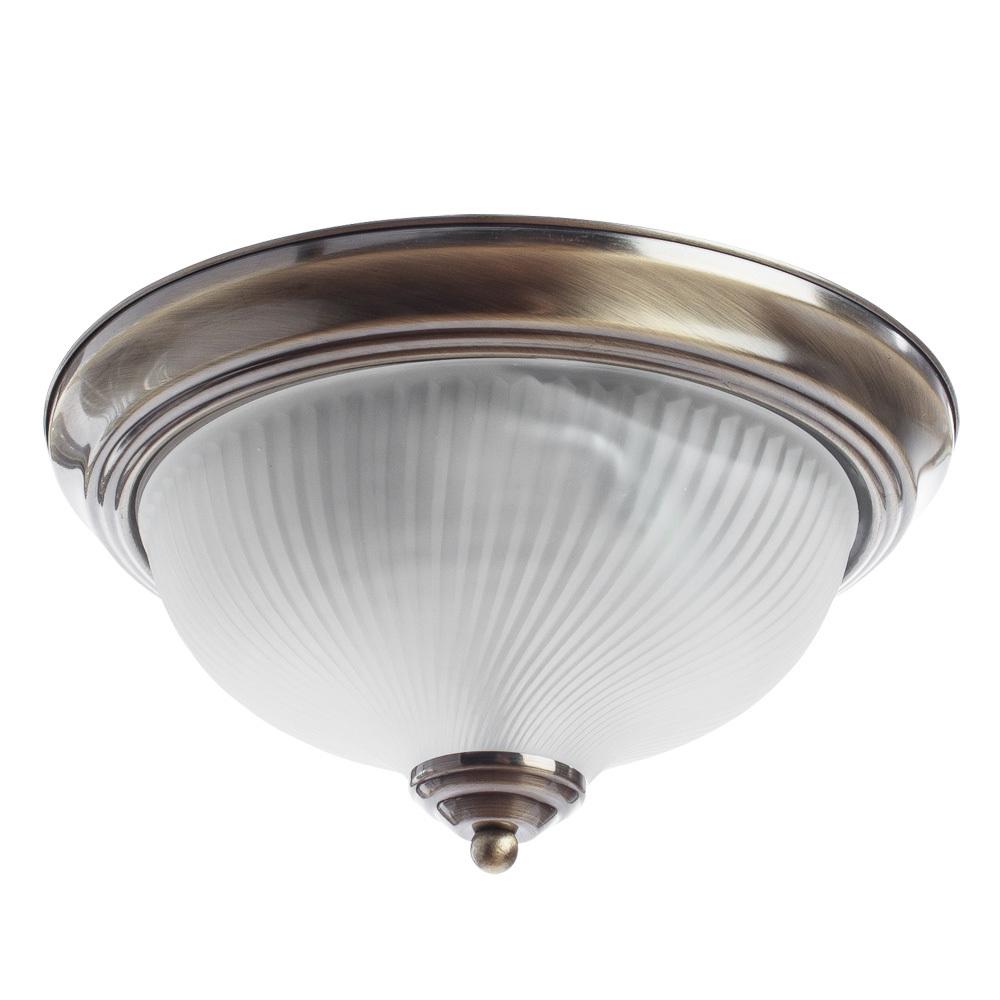 Потолочный светильник Arte Lamp Aqua A9370PL-2AB, IP44, 2xE14x60W, бронза, белый, металл, стекло - фото 1