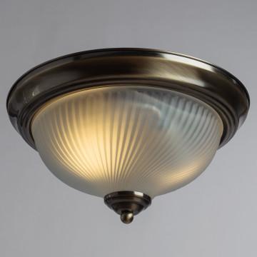 Потолочный светильник Arte Lamp Aqua A9370PL-2AB, IP44, 2xE14x60W, бронза, белый, металл, стекло - миниатюра 2