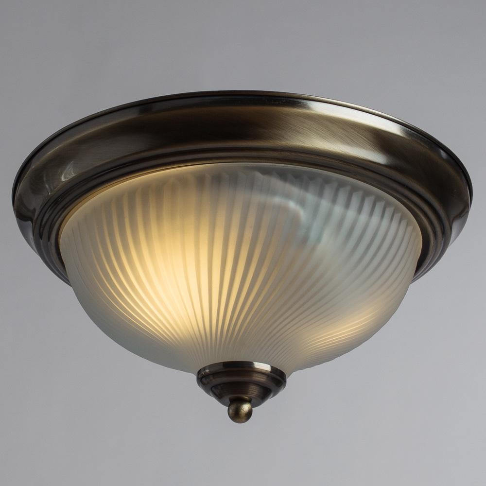 Потолочный светильник Arte Lamp Aqua A9370PL-2AB, IP44, 2xE14x60W, бронза, белый, металл, стекло - фото 2