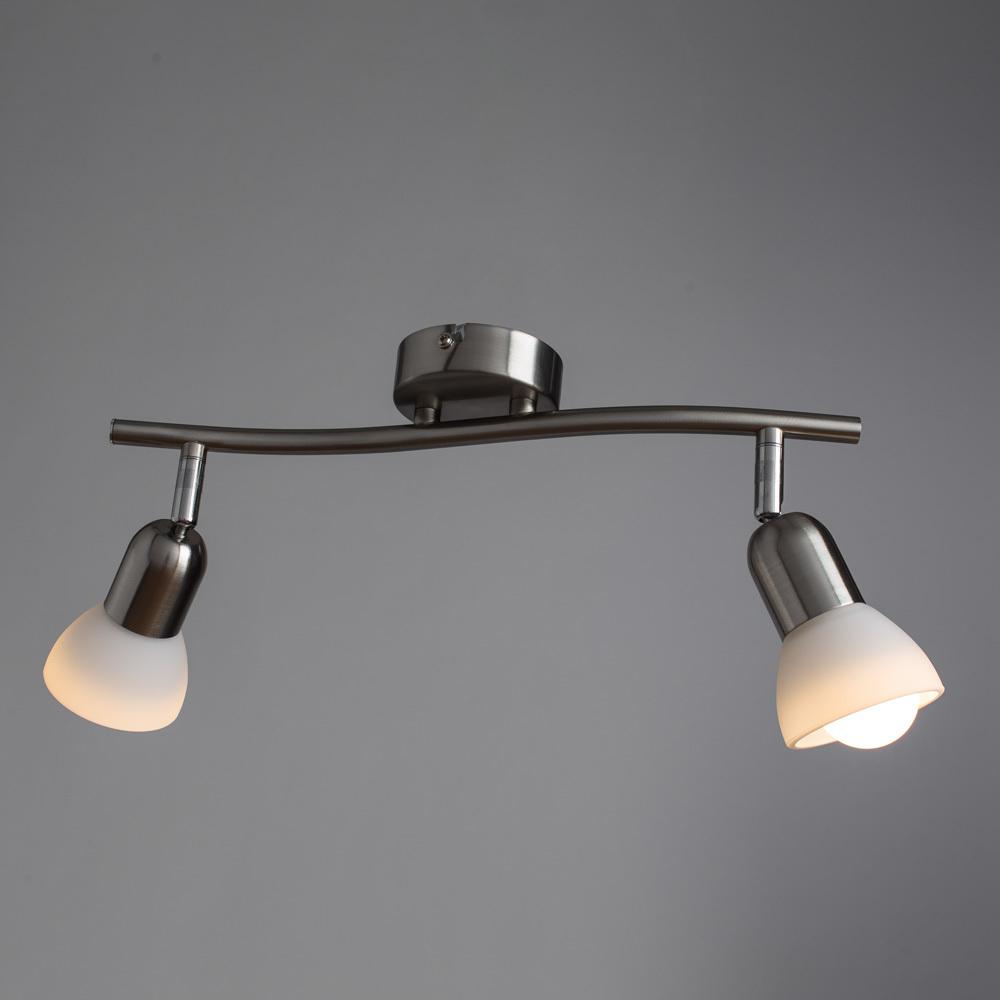 Потолочный светильник с регулировкой направления света Arte Lamp Falena A3115PL-2SS, 2xE14x40W, серебро, белый, металл, стекло - фото 2