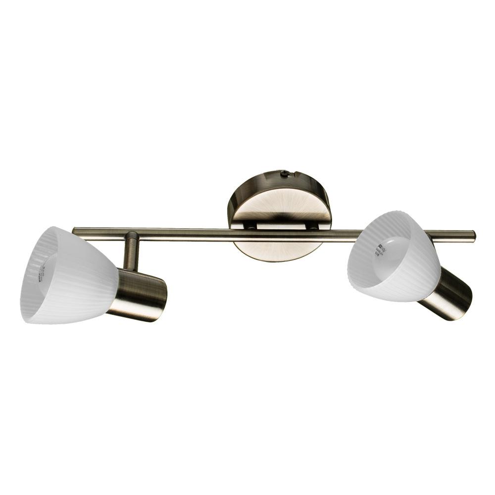 Потолочный светильник с регулировкой направления света Arte Lamp Parry A5062AP-2AB, 2xE14x40W, бронза, белый, металл, стекло - фото 1