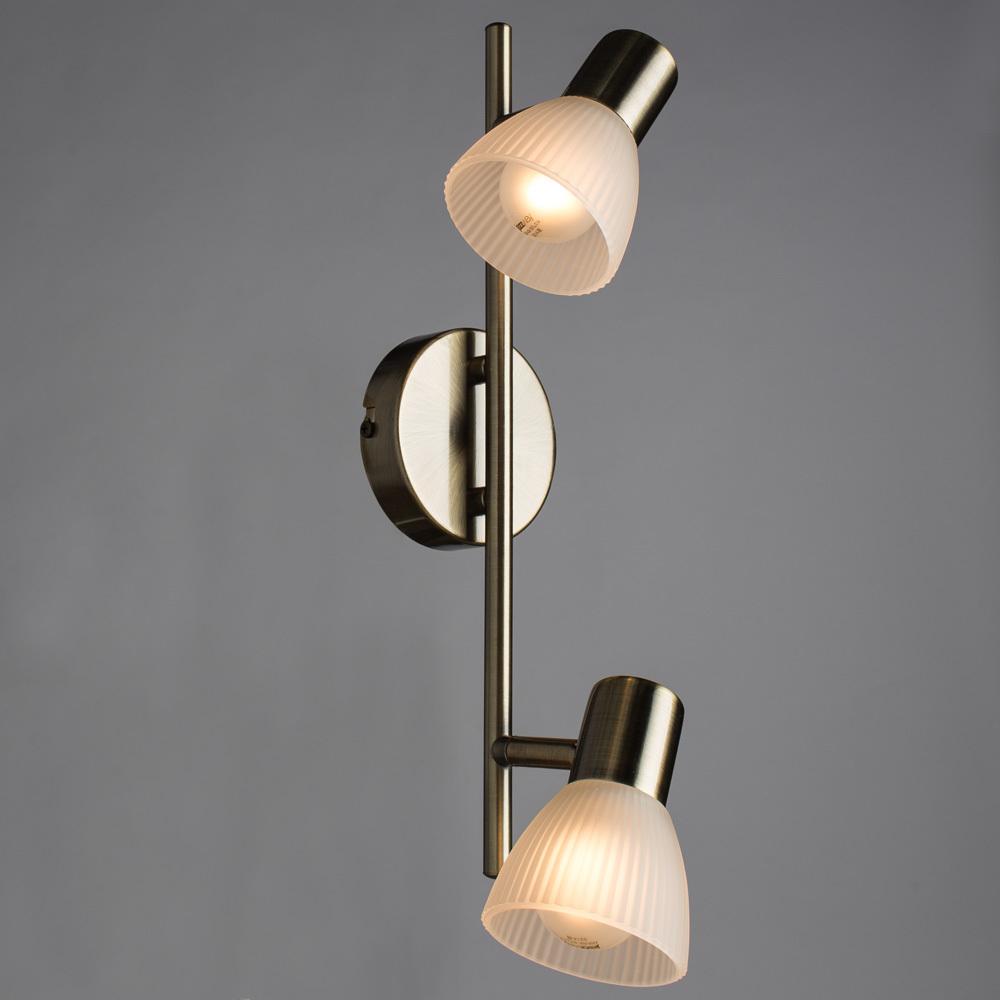 Потолочный светильник с регулировкой направления света Arte Lamp Parry A5062AP-2AB, 2xE14x40W, бронза, белый, металл, стекло - фото 2