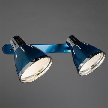 Настенный светильник с регулировкой направления света Arte Lamp Marted A2215AP-2BL, 2xE27x40W, синий, хром, металл