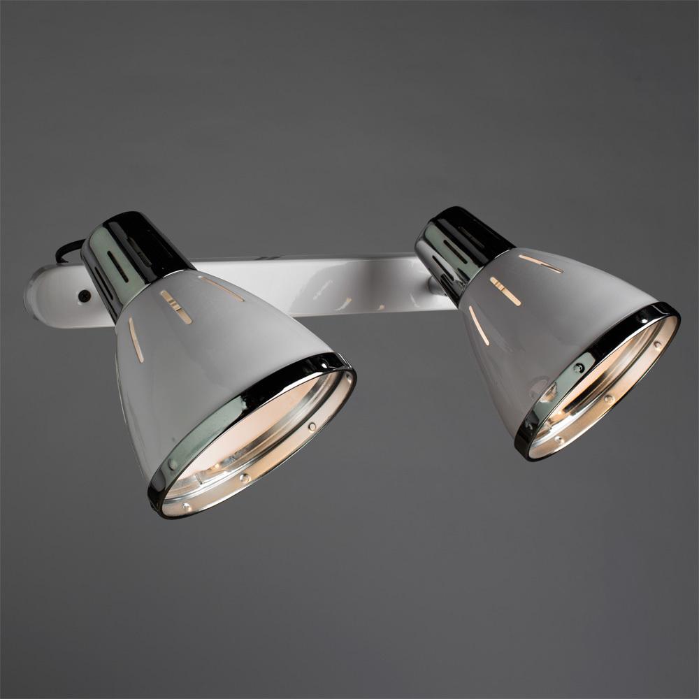 Настенный светильник с регулировкой направления света Arte Lamp Marted A2215AP-2WH, 2xE27x40W, белый, хром, металл - фото 1