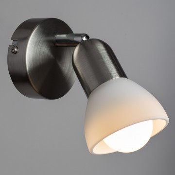 Настенный светильник с регулировкой направления света Arte Lamp Falena A3115AP-1SS, 1xE14x40W, серебро, белый, металл, стекло