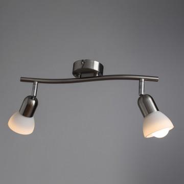 Потолочный светильник с регулировкой направления света Arte Lamp Falena A3115PL-2SS, 2xE14x40W, серебро, белый, металл, стекло - миниатюра 1