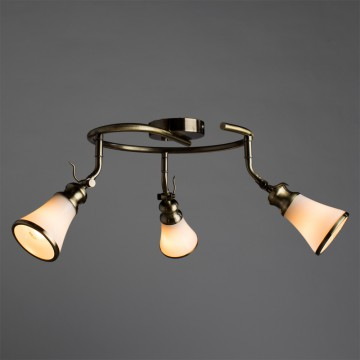 Потолочная люстра с регулировкой направления света Arte Lamp Vento A9231PL-3AB, 3xE14x40W, бронза, белый, металл, стекло