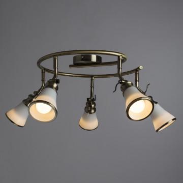 Потолочная люстра с регулировкой направления света Arte Lamp Vento A9231PL-5AB, 5xE14x40W, бронза, белый, металл, стекло