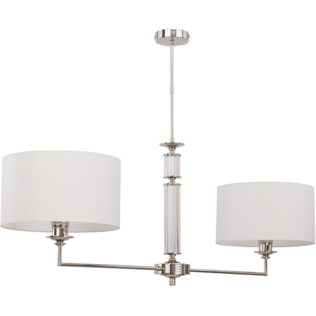 Потолочный светильник на составной штанге Kutek Mood Artu ART-ZW-2(N), 2xE14x60W, хром, белый, металл со стеклом, текстиль